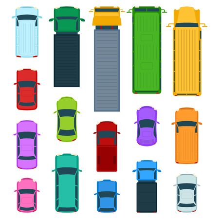 Cartoon Color Car Top View Icon Set Flat Design on a White. Vector illustration of Cars Icons