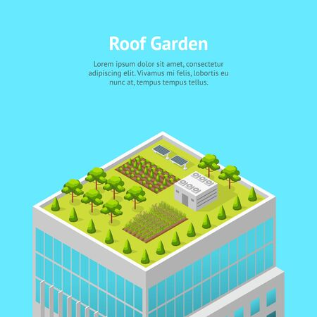 Garden on The Roof Concept Card Ad 3d Isometric View. Vector