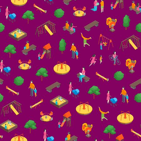 Children Park Concept Seamless Pattern Background3d Isometric View. Vector