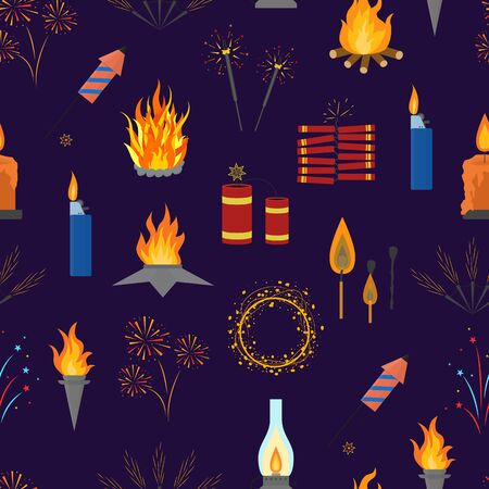 Cartoon Lights and Flames Signs Seamless Pattern Background. Vector
