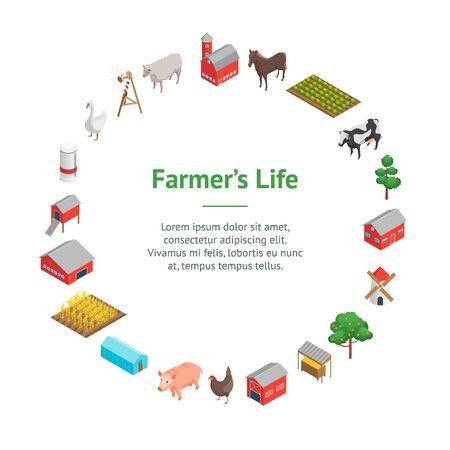 Farm Rural Concept Banner Card Circle 3d Isometric View. Vector Vektorgrafik