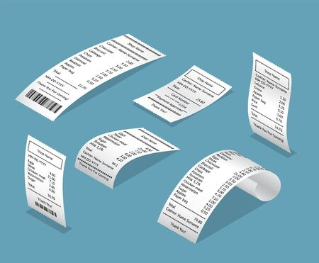 Paper Print Check Receipts Bill 3d Icon Set Isometric View. Vector