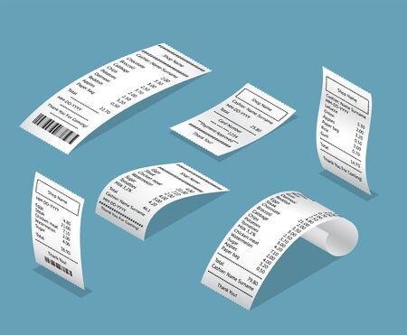 Papierdruck Scheck Quittungen Bill 3d Icon Set isometrische Ansicht. Vektor
