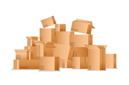 Realistic Detailed 3d Pile Cardboard Boxes. Vector