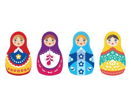 Cartoon Color Russian Dolls Icon Set. Vector