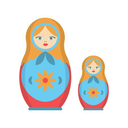 Cartoon Color Russian Dolls Matryoshka Icon Set. Vector