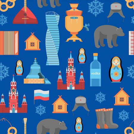 Cartoon Russian Traditional Items Seamless Pattern Background. Vector