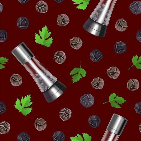 Realistic 3d Detailed Spice Mills Seamless Pattern Background. Vector Ilustração