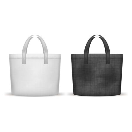 Realistic 3d Detailed Textile Shopping Bag Black and White Set. Vector illustration