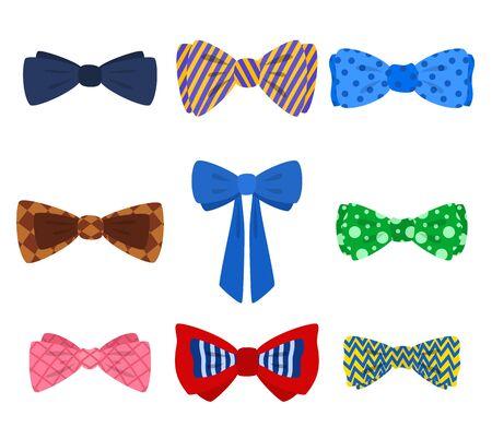 Cartoon Color Bow Tie Icon Set. Vector
