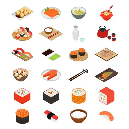 Japanese Food Concept Icons 3d Isometric View. Vector