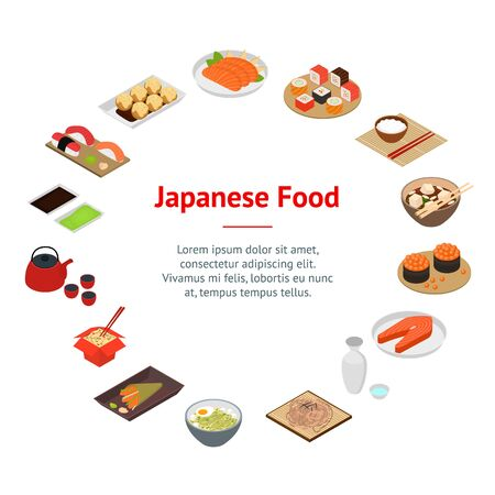 Japanese Food Concept Banner Card Circle 3d Isometric View. Vector 向量圖像