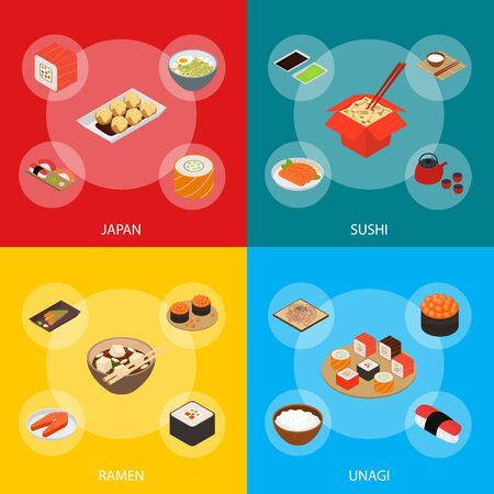 Japanese Food Concept Banner Set 3d Isometric View. Vector
