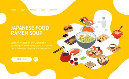 Japanese Food Concept Landing Web Page 3d Isometric View. Vector