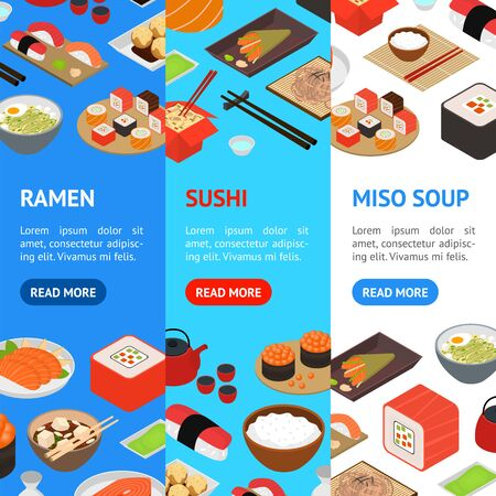 Japanese Food Concept Banner Vecrtical Set 3d Isometric View. Vector