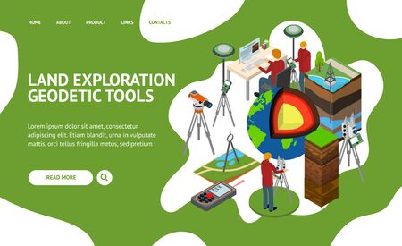 Earth Exploration Concept Landing Web Page 3d Isometric View. Vector  イラスト・ベクター素材