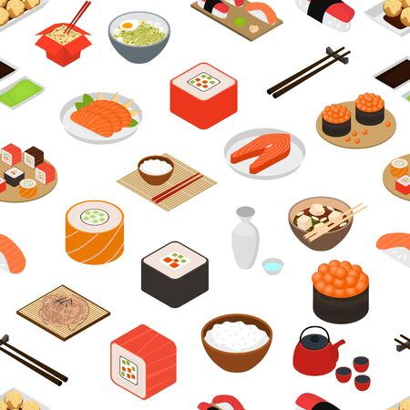 Japanese Food Concept Seamless Pattern Background 3d Isometric View. Vector