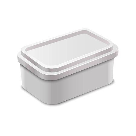 Conteneur blanc blanc 3d détaillé réaliste pour la maquette de modèle de beurre. Vecteur