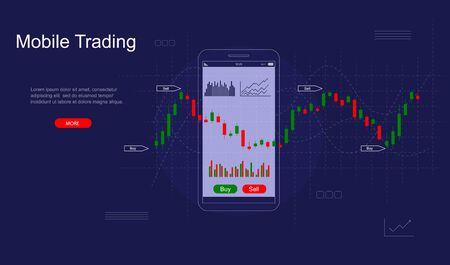Mobile Stock Trading Concept Card Landing Web Page Template. Vector