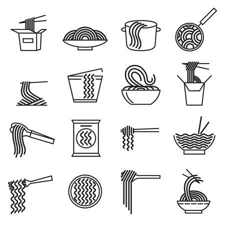 Noodle Sign Black Thin Line Icon Set. Vector