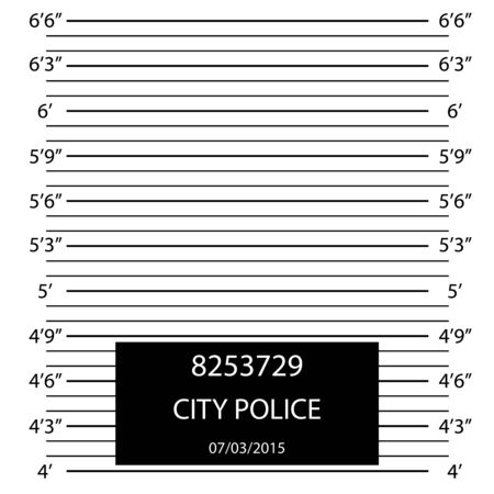 Cartoon Police Lineup Mugshot Flyer Concept Banner. Vector