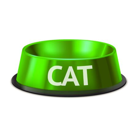 Realistic Detailed 3d Cat Pet Feeding Bowl. Ilustrace