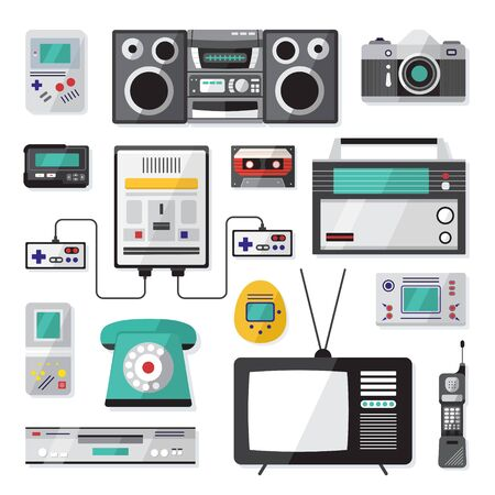 Cartoon Color Nineties Hipster Gadgets Icon Set Include of Phone, Cassette, Pager and Tv. Vector illustration of Icons Ilustracje wektorowe