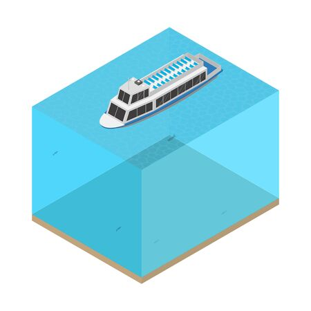 Ship on the Water Concept 3d Isometric View. Vector illustration