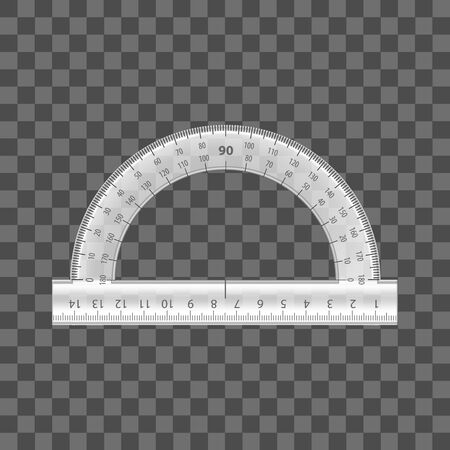Realistic Detailed 3d Plastic Ruler Instrument on a Transparent Background for Education, Mathematic and Geometry Measurement. Vector illustration of protractor