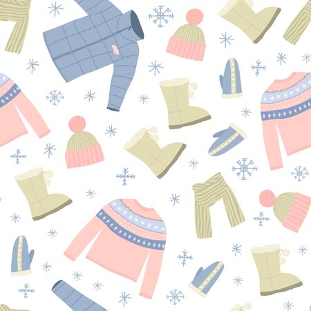 Cartoon Winter Warm Clothes Seamless Pattern Background on a White Include of Hat, Scarf, Glove, Sweater and Jacket. Vector illustration of Icons