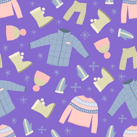 Cartoon Winter Warm Clothes Seamless Pattern Background Include of Hat, Scarf, Glove, Sweater and Jacket. Vector illustration of Icons