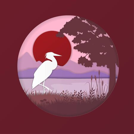Cartoon Color Paper Art Nature Landscape Background Scene Flat Design Style Include of Heron, Sun and Mountain. Vector illustration  イラスト・ベクター素材