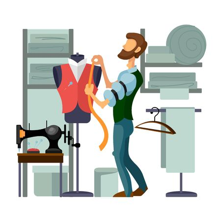 Cartoon Color Character Person and Taking Measures at Tailor Shop Concept. Vector