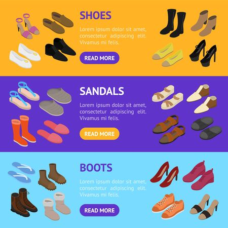Shoes Concept 3d Banner Horizontal Set Isometric View. Vector