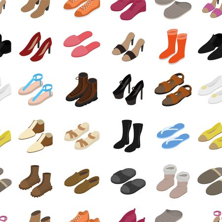 Shoes Concept Seamless Pattern Background 3d Isometric View. Vector