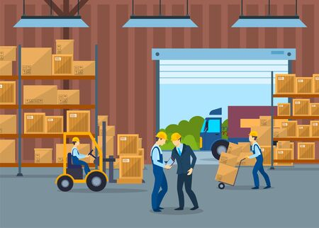 Cartoon Color Characters People and Warehouse Interior Inside Concept. Vector