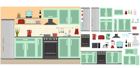 Cartoon Color Kitchen Room Interior Inside Concept Flat Design Style Include of Oven, Stove, Fridge and Kettle. Vector illustration