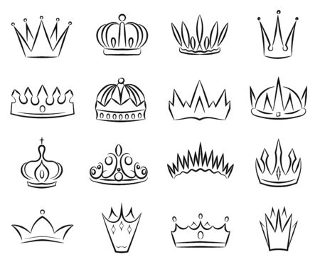 Crown Sign Contour Linear Icon Set Include of Tiara and Diadem. Vector illustration of Royal Luxury Jewelry Icons