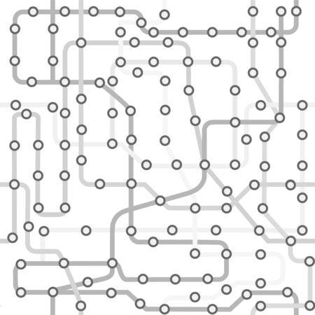 Scheme Subway Line Seamless Pattern Background on a White. Vector