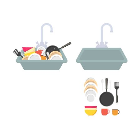 Cartoon Kitchen Sink with Different Kitchenware Set Include of Dishes, Utensil, Towel and Wash Sponge Flat Design. Vector illustration