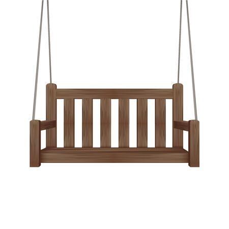 Realistic 3d Detailed Wooden Swing Bench. Vector