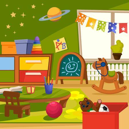Interior de jardín de infantes de color de dibujos animados dentro del concepto de estilo de diseño plano que incluye juguete, mesa, silla, cubo y alfombra. Ilustración vectorial Ilustración de vector