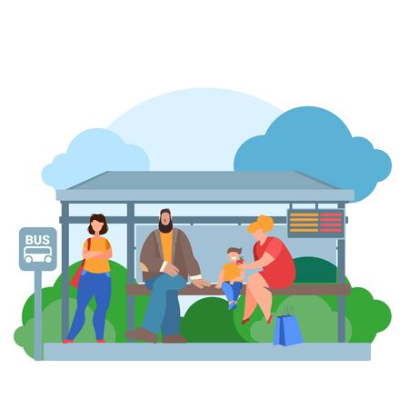 Cartoon Color Characters People Waiting Bus and Landscape Scene Concept Flat Design Style . Vector illustration of Passengers