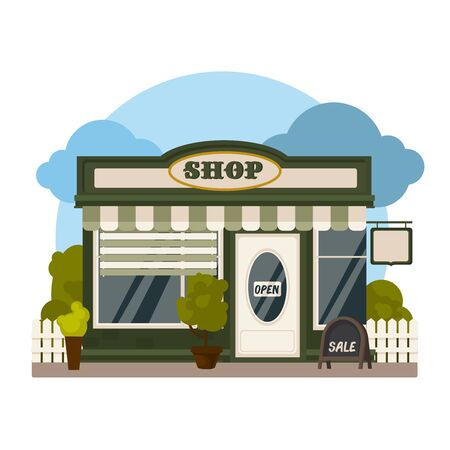 Cartoon Color Shop or Market Store Building and Landscape Scene Concept Flat Design Style . Vector illustration