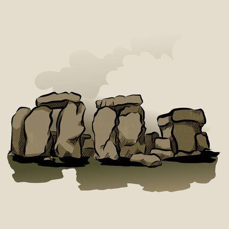 Cartoon Color Stonehenge Landscape Scene Concept Flat Design Style . Vector illustration of Ancient Mystery Stone Monument Illustration