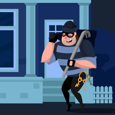 Cartoon Color Character Person Thief Sneaks into The House Concept Flat Design Style . Vector illustration of Robber Çizim