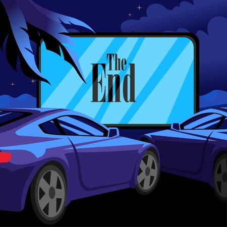 Cartoon Color Car Open Air Cinema Scene Concept Flat Design Style Include of Movie Screen and Automobile. Vector illustration of Night Entertainment