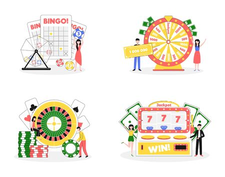 Cartoon Color Lottery and Casino Characters People Concept. Vector Ilustrace