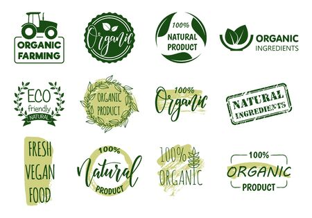 Cartoon Color Organic Fresh Food Label Badge Sign Set Concept Flat Design Style. Vector