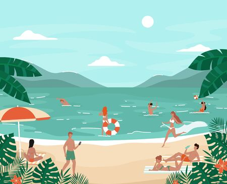 Cartoon Color Characters People Having Fun on The Beach Concept. Vector Illustration